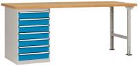 Komplettwerkbank Buche massiv 40 mm Combi Modell 6 Lichtblau RAL 5012 / 2000