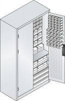 Großraumschrank mit Schubladenblock, 67 rote & 75 blaue Sichtlagerkästen, HxBxT 1950x1100x535 mm Anthrazit RAL 7016 / Resedagrün RAL 6011