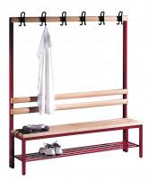 C+P Einseitige Sitzbank mit Garderobe und unterbautem Schuhrost Hartholzleisten / 1500