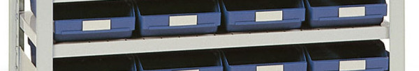 Fachböden für Steckregale mit Regalkästen - mit Sichtöffnung