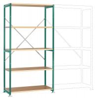 Mittelschwere Holzfachboden Grundregale PLANAFIX Premium, Höhe 2000 mm, einseitige Nutzung 500 / Graugrün HF 0001