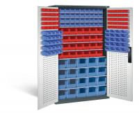 Großraumschrank mit 68 roten und 100 blauen Sichtlagerkästen, HxBxT 1950 x 1100 x 535 mm Anthrazit RAL 7016 / Lichtgrau RAL 7035