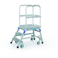 Podesttreppen fahrbar, einseitig begehbar Stahl-Gitterrost-Stufen / 3