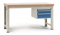 Komplett-Angebot Werkbank PROFI Modell 3, Platte Kunststoff 40 mm 1500 / Lichtgrau RAL 7035