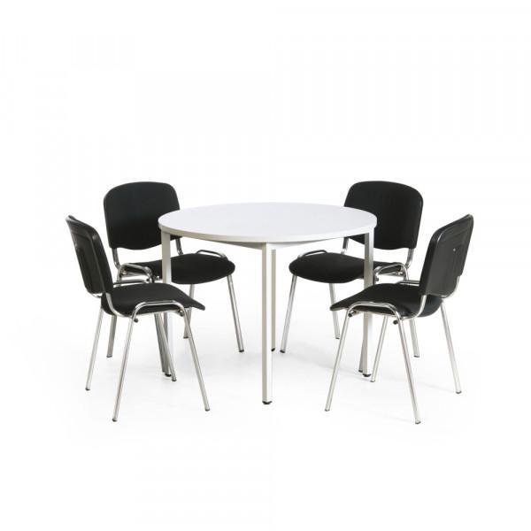 Sitzgruppe mit 4 oder 6 gepolsterten Stapelstühlen