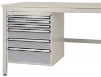 Schubfach-Unterbauten CANTOLAB, stationär, 3 x 50 , 2 x 100 , 1 x 150 mm Alusilber ähnlich RAL 9006 / 1000