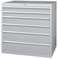 Schubfachschrank MAXTEC stationär, 2 x 100 , 2 x 150 , 2 x 200 mm Vollauszug 100%, 180 kg / Enzianblau RAL 5010