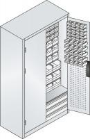 Großraumschrank mit Schubladenblock, 61 rote & 85 blaue Sichtlagerkästen, HxBxT 1950x1100x535 mm Anthrazit RAL 7016 / Wasserblau RAL 5021