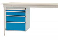 Komplett-Gehäuse BASIS stationär, 4 Schubfächer Lichtblau RAL 5012