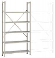 REGISTRA Archiv Premium Plus grau/verzinkt, Einfach-Grundregal 1900 / Beidseitig (Längsverbinder)