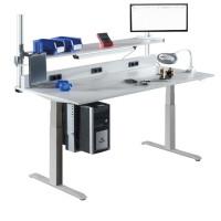 Elektr. höhenverstellbarer Arbeitstisch E-LINE 140, Melamin-Tischplatte 22 mm, lichtgrau 2000 / 1000 / Melamin lichtgrau 22 mm