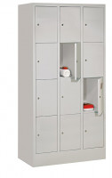 Schließfachschrank - die Bewährten, Abteilbreite 300 mm, Anzahl Fächer 4x3, mit Sockel Reinweiß RAL 9010