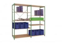 Mittelschwere Fachbodenregale PLANAFIX Premium mit Holzböden, HxBxT = 2000 x 2030 x 400 mm Graugrün HF 0001