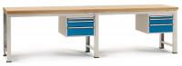Komplett-Angebot Werkbank PROFI Modell 4, Platte Multiplex geölt 40 mm 1500 / Brillantblau RAL 5007