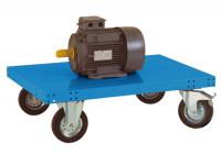 Schwerer Plattformwagen TRANSOMOBIL ohne Bügel und Stirnwand Lichtblau RAL 5012 / 1500 x 600