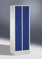 Garderobenschrank, die Klassischen, Abteilbreite 300 mm, 2 Abteile, mit Füßen Lichtgrau RAL 7035 / Lichtgrau RAL 7035