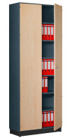 Modufix Flügeltüren-Büroschrank mit 6 Fachböden, HxBxT 2575 x 1020 x 420 mm Graphit / Ahorn