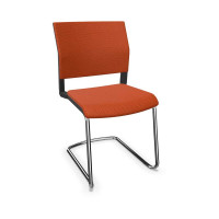 Design-Besucherstuhl, Freischwinger ohne Armlehnen Orange / Stoffpolster