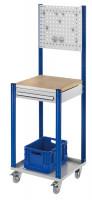 Mobile Arbeitsstation mit Lochplatte 1000 / Enzianblau RAL 5010