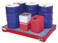 Auffangwannen für Innenlagerung, LxBxT 1300 x 800 x 205 mm Resedagrün RAL 6011 / Mit Gitterrost