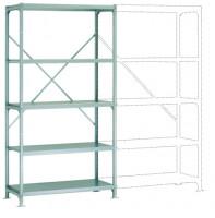 Mittelschwere Fachboden Grundregale PLANAFIX Standard mit Stahlböden, einseitige Nutzung 500 / 2000