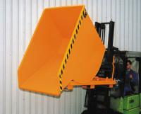 Staplerschonende Kippbehälter, mit Einfahrtaschen Mausgrau RAL 7005 / 1,5