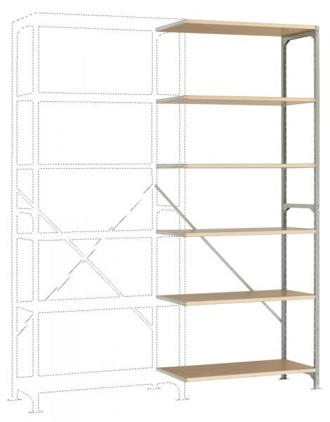 Leichte Fachboden Anbauregale PLANAFIX Standard mit Holzböden, einseitige Nutzung