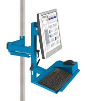 Ergo-Monitorträger mit Tastatur- und Mausfläche leitfähig 75 / Lichtblau RAL 5012