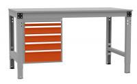 Schubfach-Unterbauten MULTIPLAN, stationär, 1x50, 3x100, 1x150 mm Rotorange RAL 2001 / 1000