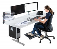 Elektr. höhenverstellbarer CAD-Arbeitstisch E-LINE 200, Melamin-Tischplatte 22 mm, lichtgrau 2000
