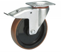 Lenkrolle mit Doppelstopp auf Polyurethan-Bereifung 200 / Polyamid
