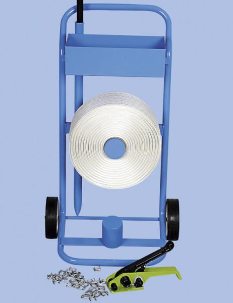 Kraftbandspanner für Umreifungsset mit Abrollwagen
