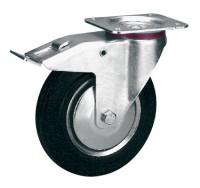 Lenkrolle mit Doppelstopp auf Vollgummi-Bereifung 200 / Stahlblech