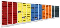 Postverteilerschrank, Abteilbreite 300 mm, 30 Fächer Lichtgrau RAL 7035 / Anthrazit RAL 7016