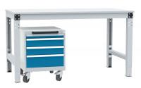 Schubfachschrank BASETEC mobil, 1 x 50 , 2 x 100 , 1 x 150 Brillantblau RAL 5007