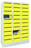 Postverteilerschrank, Abteilbreite 400 mm, 30 Fächer Lichtgrau RAL 7035 / Enzianblau RAL 5010