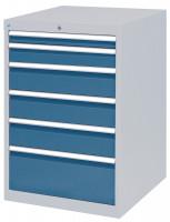 Schubfachschrank MAXTEC stationär, 1 x 50 , 1 x 100 , 3 x 150, 1 x 300 mm Vollauszug 100%, 180 kg / Enzianblau RAL 5010