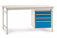 Komplettbeistelltisch BASIS mit Kunststoffplatte 22 mm, mit Gehäuse-Unterbau 500 mm Brillantblau RAL 5007 / 1250