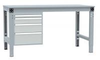 Schubfach-Unterbauten MULTIPLAN, stationär, 1x50, 1x100, 1x150, 1x200 mm Lichtgrau RAL 7035 / 700