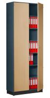 Modufix Flügeltüren-Büroschrank mit 6 Fachböden, HxBxT 2575 x 920 x 420 mm Graphit / Buche hell
