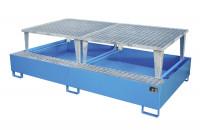 Auffangwannen für Tankcontainer und Fässer, mit Abfüllaufsatz Lichtblau RAL 5012 / 3850