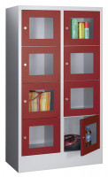 Halbhoher Schließfachschrank, Vollblechtüren, Abteilbreite 300 mm, Anzahl Fächer 3x2 Anthrazit RAL 7016