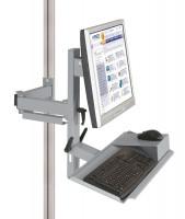 Ergo-Monitorträger mit Tastatur- und Mausfläche leitfähig 75 / Alusilber ähnlich RAL 9006