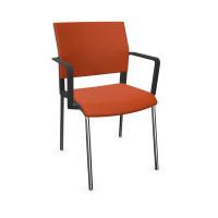 Design-Besucherstuhl, Vierfuß mit Armlehnen Orange / Stoffpolster