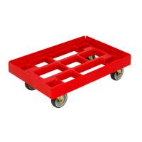 Kasten-Roller für Euro-Normkästen, L x B 610 x 410 mm, Tragkraft 300 kg Rot / 2 Lenk-, 2 Bockrollen