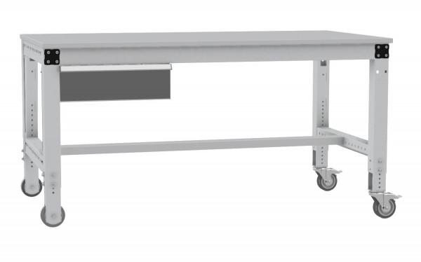 Komplett-Arbeitstisch MULTIPLAN mobil mit Einzelschubfach und Kunststoff-Tischplatte