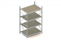 Weitspann-Grundregal mit Spanplattenböden, Höhe 2500 mm, 4 Ebenen 1502 / 1050