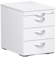 Rollcontainer mit Schublade aus Kunststoff, HxBxT 566 x 430 x 600 mm Weiß / 1 Utensilienschub, 3 Schubfächer