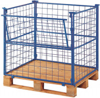Palettenaufsatz mit Gitter - 1 Seite mit Klappe 1200 / 1200 x 800