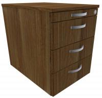 Rollcontainer mit Schublade aus Stahl, HxBxT 566 x 430 x 600 mm 1 Utensilienschub, 3 Schubfächer / Nussbaum